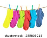 Colorful Socks Hanging On A...
