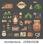 hiking  mountain climbing and... | Shutterstock .eps vector #255810238