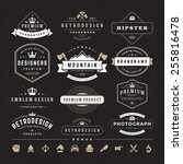 retro vintage insignias or... | Shutterstock .eps vector #255816478
