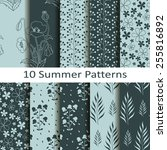 set of ten summer patterns | Shutterstock .eps vector #255816892