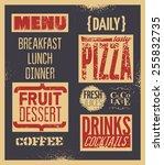 retro typographic restaurant... | Shutterstock .eps vector #255832735