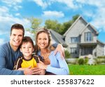 happy family near new home.... | Shutterstock . vector #255837622