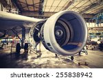 engine of the airplane under... | Shutterstock . vector #255838942