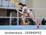 Small photo of ISTANBUL, TURKEY - FEBRUARY 21, 2015: Rumanian athlete Pastor Adelina run during Balkan Athletics Indoor Championships in Asli Cakir Alptekin Athletics hall.