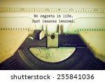 text no regrets in life just... | Shutterstock . vector #255841036