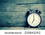 retro alarm clock with wooden... | Shutterstock . vector #255843292