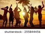 people celebration beach party... | Shutterstock . vector #255844456