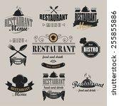retro restaurant logotypes set. ...   Shutterstock .eps vector #255855886