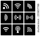 vector black wireless icon set... | Shutterstock .eps vector #255857788