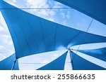 awnings in sails shape over... | Shutterstock . vector #255866635