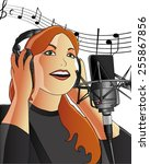 a girl singing in a recording... | Shutterstock .eps vector #255867856