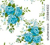 seamless pattern with blue... | Shutterstock .eps vector #255884302