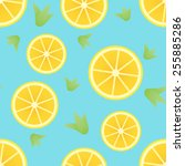 seamless pattern with lemon | Shutterstock .eps vector #255885286