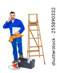 carpenter on the phone on white ... | Shutterstock . vector #255890332