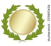 green laurel wreath with golden ... | Shutterstock .eps vector #255892636