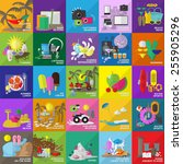 flat icons set for  web  travel ... | Shutterstock .eps vector #255905296