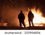 Burning Wood House. Ruins. Dar...