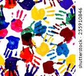 colorful handprint seamless... | Shutterstock .eps vector #255910846