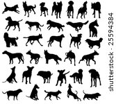 Stock vector collection of dog silhouettes 25594384