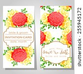wedding invitation cards with... | Shutterstock .eps vector #255945172