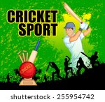 player playing game of cricket... | Shutterstock .eps vector #255954742