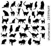 Stock vector big collection of cat silhouettes 25599649