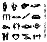 volunteer help icons set | Shutterstock .eps vector #256000312