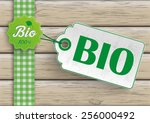 bio food label with price... | Shutterstock .eps vector #256000492