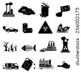 pollution icons set | Shutterstock .eps vector #256002175