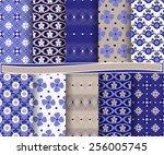 set of  abstract vector paper... | Shutterstock .eps vector #256005745