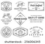 black on white seafood labels... | Shutterstock .eps vector #256006345