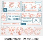 colored seafood labels and... | Shutterstock .eps vector #256013602