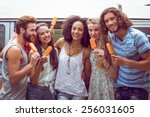 hipster friends enjoying ice... | Shutterstock . vector #256031605