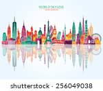 travel and tourism background | Shutterstock .eps vector #256049038
