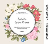 wreath with exotic flowers.... | Shutterstock .eps vector #256058026
