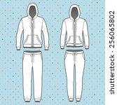 front view of men's and women's ... | Shutterstock .eps vector #256065802