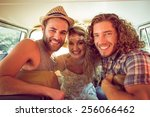 hipster friends on road trip on ... | Shutterstock . vector #256066462