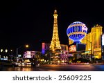 Stock photo las vegas may night view from strip on the replica of eiffel tower at paris hotel casini on 25609225