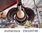 Stock photo engine of the airplane under heavy maintenance 256104748