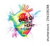 broken heart vector illustration | Shutterstock .eps vector #256108288