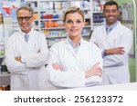 team of pharmacists smiling at...   Shutterstock . vector #256123372