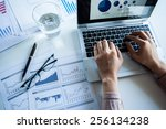 businessman checking reported... | Shutterstock . vector #256134238