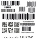 Stock vector set of seventeen barcodes 256149148