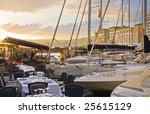 Beautiful restaurant in the port of Naples at sunset, Italy - stock photo