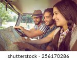 hipster friends on road trip on ... | Shutterstock . vector #256170286