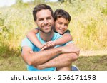 father and son in the... | Shutterstock . vector #256171198