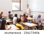 teacher giving a lesson in... | Shutterstock . vector #256173406