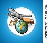 worldwide delivery  vector... | Shutterstock .eps vector #256188706