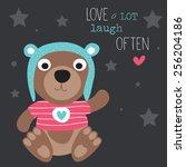 cute teddy bear vector... | Shutterstock .eps vector #256204186