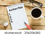 notebook with action plan.... | Shutterstock . vector #256206382
